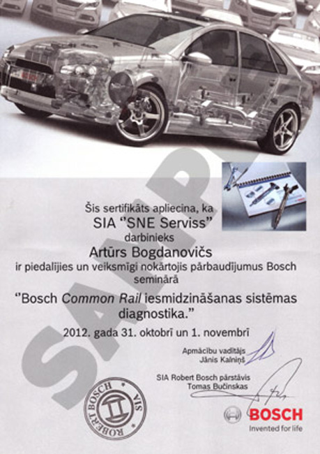 Certificate of diagnosis systems Common Rail