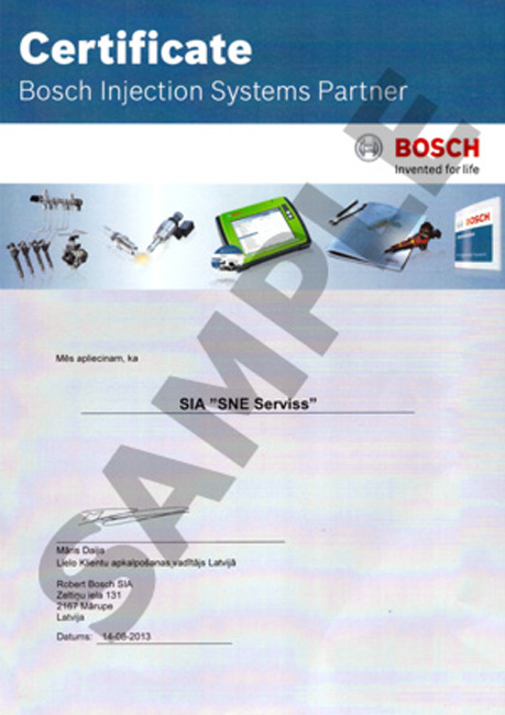 Certificate BOSCH INJECTION SYSTEMS PARTNER